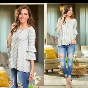 🌟Last One!💙Striped Tunic with Ruffle Sleeves💙
